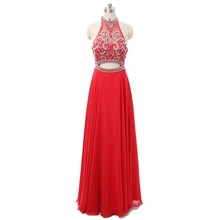 Red High Neck Prom Dresses 2018 New Fashion Style Full Length Chiffon Beaded Long Gowns Evening Wear for Girls/Ladies