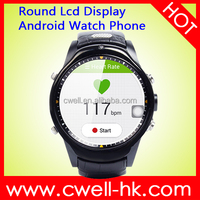 Smart W10 Round LCD Display Android hand watch mobile phone Support 3G GPS Heart Rate Monitor and Predometer