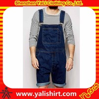 2015 new design high quality fashion fitness dark blue soft 100%cotton casual denim overalls for men