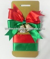 Red Green christmas decorative bell satin ribbon bow tie