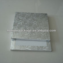 "1/2"" thick square silver foil edge wrapped cake boards"
