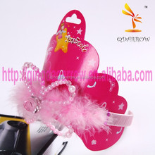 Fashion Plastic Party Crown Tiara with Pink Feather