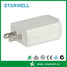 White color 5v 1a ul usb wall charger