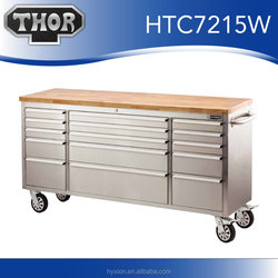 2016 hot sale stainless steel 72 inch tool chest with wooden top