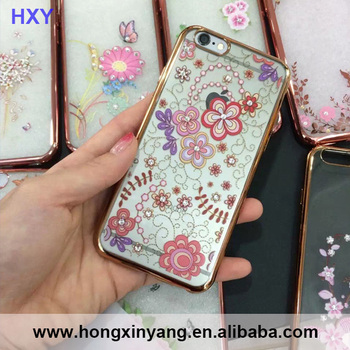 Golden Plating Transparent TPU Soft case cover For Iphone6/6S