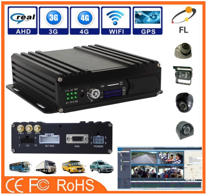 H.264 GPS 3g wifi 4Ch SD card mobile DVR with free CMS/IVMS software