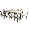 Rose gold SS metal event dining table set with chairs for sale