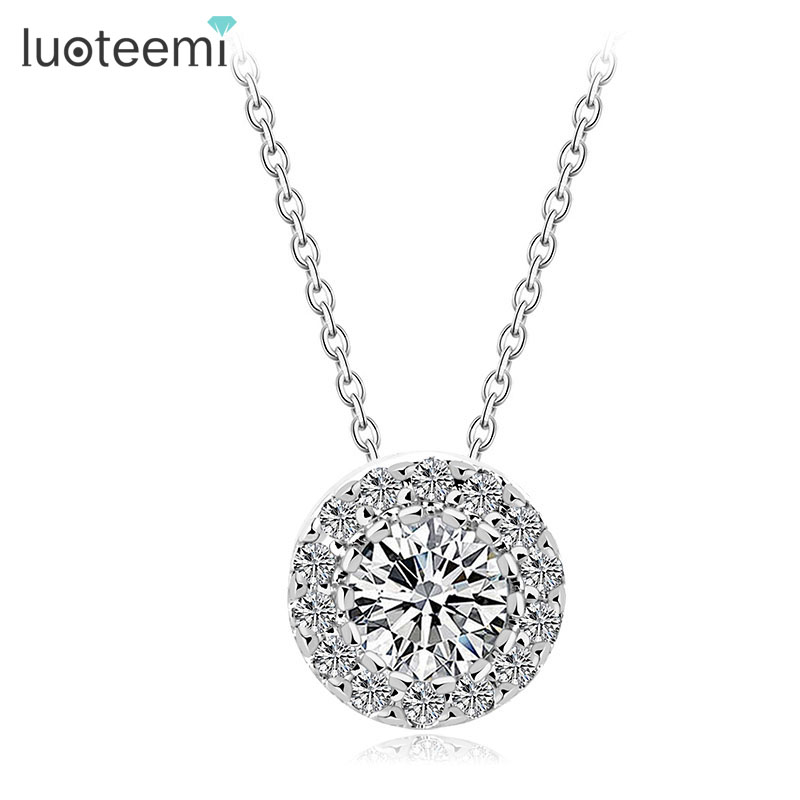 LUOTEEMI Wholesale Luxury Quality Shining Synthetic Cubic Zirconia Paved Women Halo Pendant <strong>Necklaces</strong>
