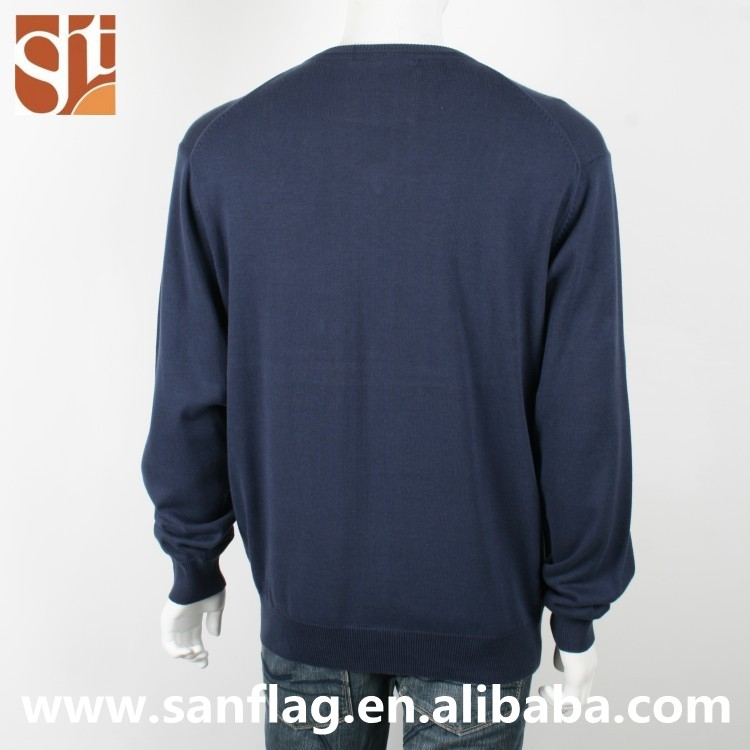 men's v neck long sleeve pullover plain blue knitted sweater from dongguan manufacturer