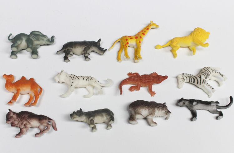 Mini soft solid wild animal model toy in bulk
