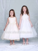 Beautiful Flower Appliques Champagne Tea Length Sash Dresses For Girls Tulle Puffy Flower Girl Dress d63