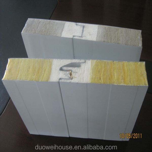 2015 hot selling 1000mm colored rock wool composite sandwich roof panel