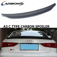rear auto spoiler wing C type carbon fiber for audi A3 2013-2018