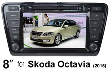 "(for Skoda Octavia 2015) 8"" HD digital in-dash car GPS DVD player, with TV,radio, bluetooth, iPOD"