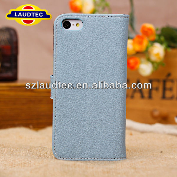 Light Grey Litchi Grain PU Leather Flip Card Slot Wallet Stand Case Cover For iPhone 5 5S