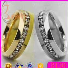 Wholesale 18K gold stainless steel rings with stones 316L steel ring finger wedding rings women Alibaba express crystal jewelry