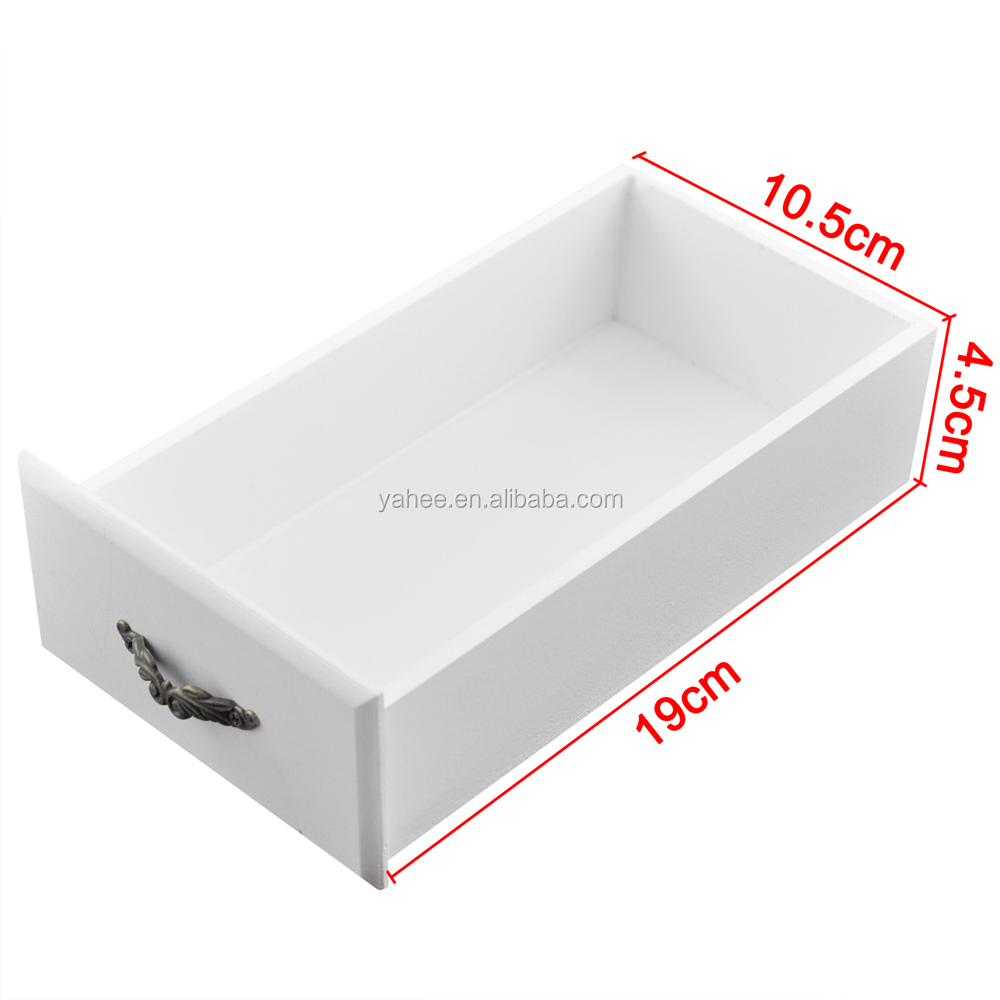 White Wooden Jewelry Display Cosmetic Storage Box For Make Up Gift