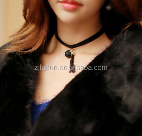 korea wind personality chain tassel ball unique charm velvet necklace
