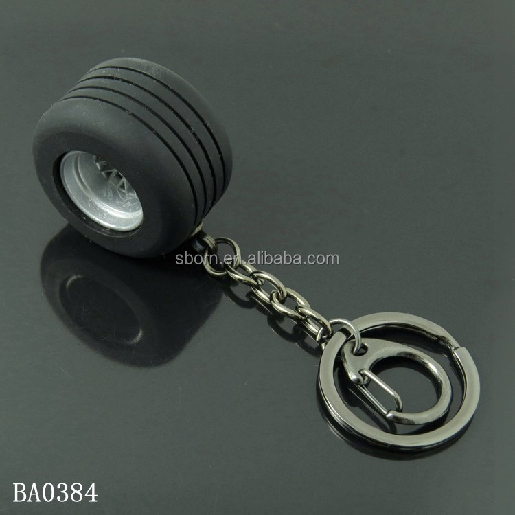 Metal Tyre Keychain 3D Car Round Tire Advertising Gift Rubber Wheel Keyring