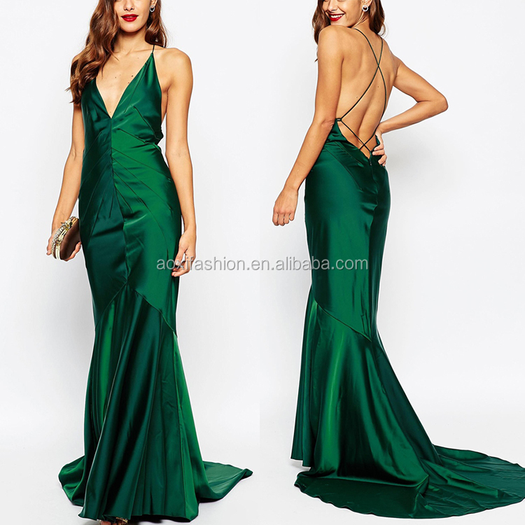 New Style Custom Made Sleeveless Backless Plunge Maxi Dress 2016 Pleated Design Luxury Women Top Fishtail Evening Dress
