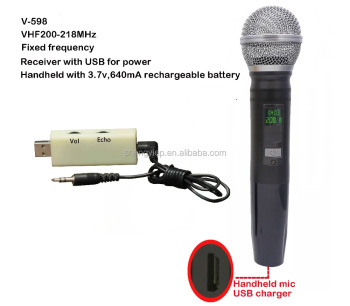 Rechargeable Mini box with USB for power VHF Wireless Microphones system V-598