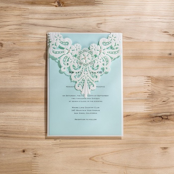 Wholesale Wedding 2016 White and Silver Wholesale Die Cut Blank – Blank Pocket Wedding Invitations