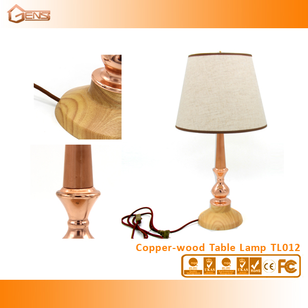Copper Burly wood table Lamp with Natural Wood
