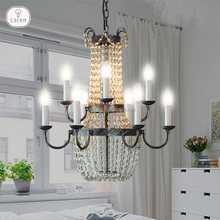 Caren Vintage industrial iron with crystal beads pendant lamp ceiling lamp