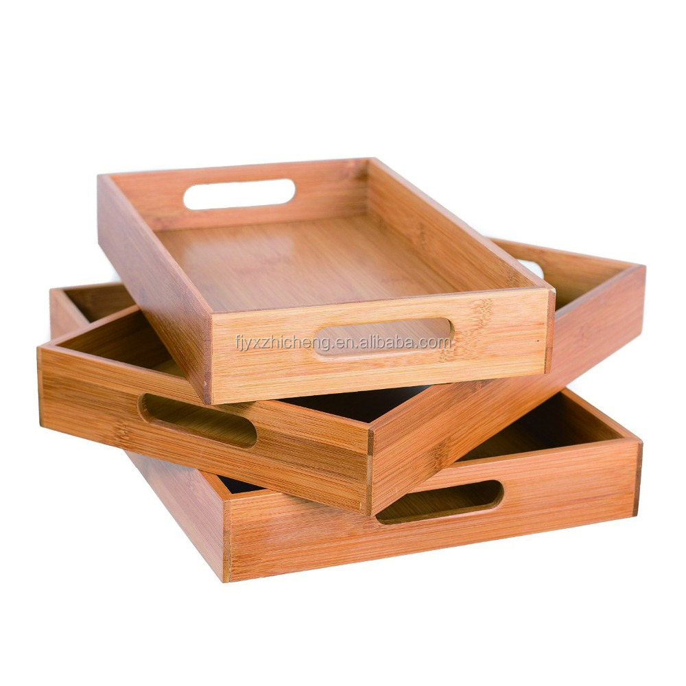 Home Bamboo Breakfast Bed Tray 3 Pieces with Double Handles For Breakfast in Bed, Party Service