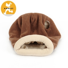 Brown Cozy Pet Furniture Fleece Cuddle Pet Bed Pet Beds For Cats