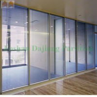 Modern Office Aluminum Frame Glass Partition Door with Blind