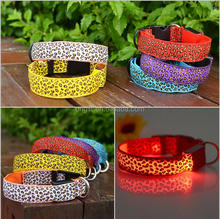 Leopard spots Pet Dog Collar Leopard Nylon Safety LED Collar Flash Light Necklace For dog