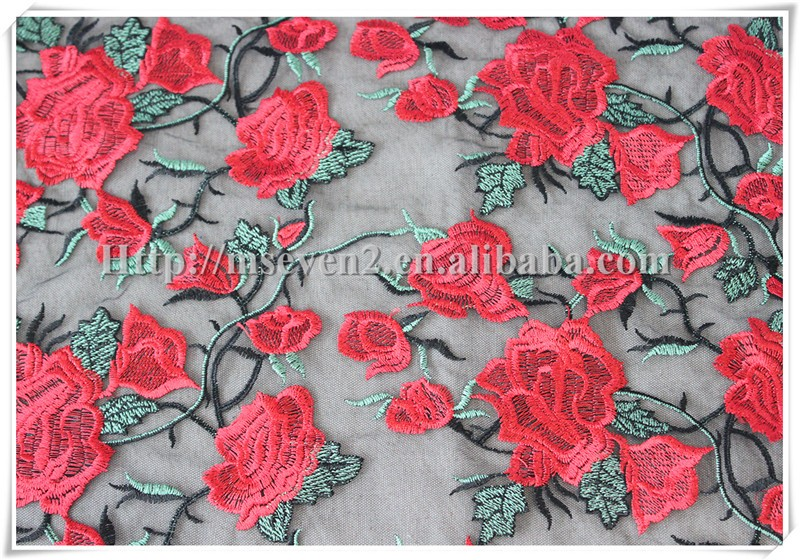 Fashionable chemical embroidery lace red flower voile african lace fabric