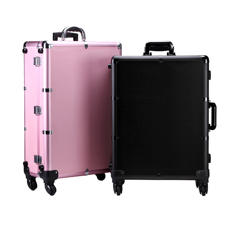 Professional Mobile Lighted Makeup Station Aluminum Trolley Beauty Case