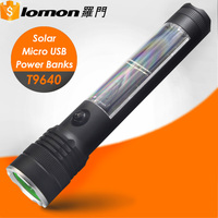 T9640 3W LED Multifunction Micro USB Rechargeable Torch Light Portable Power Banks Solar Tactical Flashlight