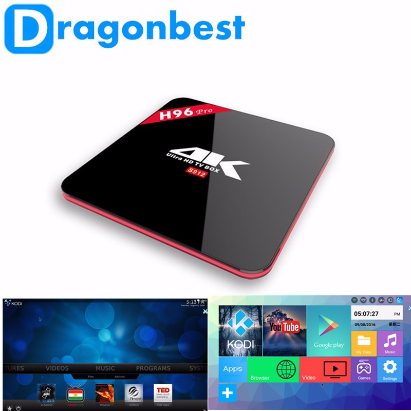 Newest Amlogic S912 chip H96 pro TV BOX android 6.0 media player Octa core Ram 2GB Rom 16GB S912 Media Player