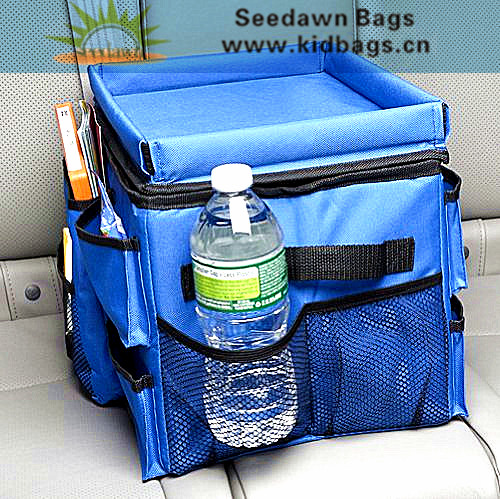 Two Side Handles Full Foam Padded Cars Rear Seat Storage Organizer Bag with Multiple Mesh Pockets