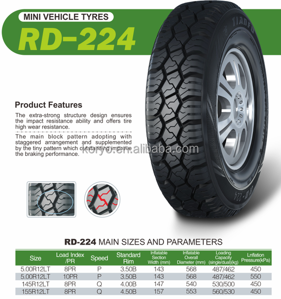 145R12LT 155R12LT 5.00R12LT 5.50R12LT RD224 HAIDA KORYO TIANFU CAR <strong>TYRE</strong>