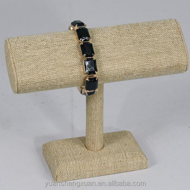 High end linen T bar bracelet and bangle display props