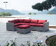 Hot sale aluminum frame PE wicker couch conversation corner sectional rattan outdoor sofa