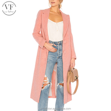 High quality pink plain long sleeve ladies winter coats wool coat