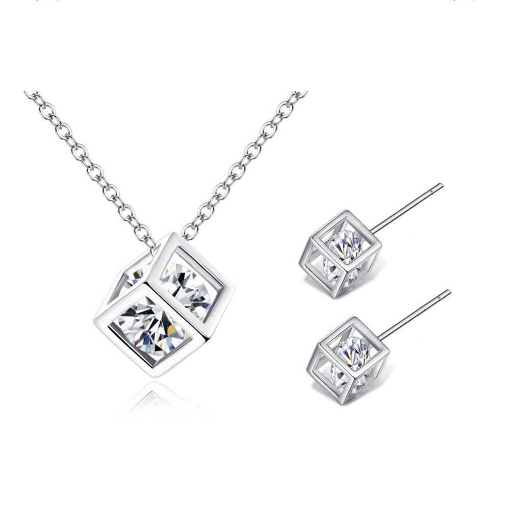 Newest Fashion Cube Jewelry <strong>Sets</strong> Silver Gold Plated AAA Cubic Zircon Necklace & Earrings Jewelry <strong>Set</strong> for Women Girlfriend Gift
