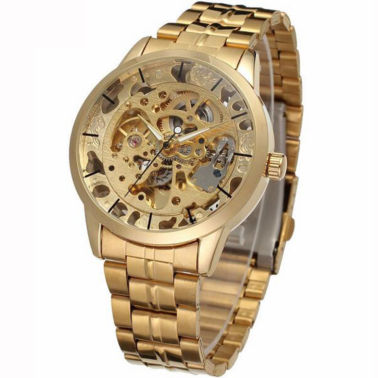 British England Style Gold Hot Mechanical Wrist Watches Steel Watches Skeleton Man OEM Wristwatch New Design Business Mens Watch