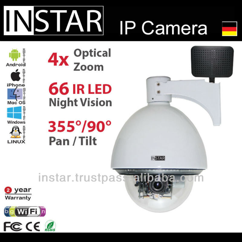 INSTAR IN-4011 Wifi Surveillance Camera with microphone and IR Cut Filter, 4x optical Zoom, pan&tilt