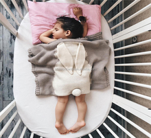 Hot selling air conditioner covers cute fancy baby kids knitted blanket with rabbit ear