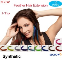 Fashion Multi-color Feathers For Hair Extension 20inches 50cm Synthetic I-tip micro ring hair extension 10 colors Free Shipping