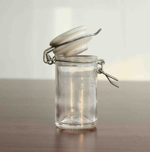 60ml 2oz glass canister with ceramic lid 2oz round sealed jar food glass jars with locking clamp
