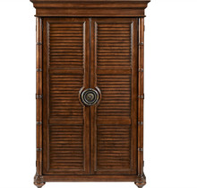 bamboo carved effects Solid wood Armoire with two long shuttered doors