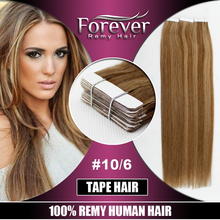 Long artificial hair 100% virgin indian remy temple hair china mixed color remy tape in hair extensions