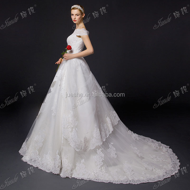 Fast Delivery China Custom Made Off Shoulder Sleeves Aline Court Train Wedding Dresses 2015